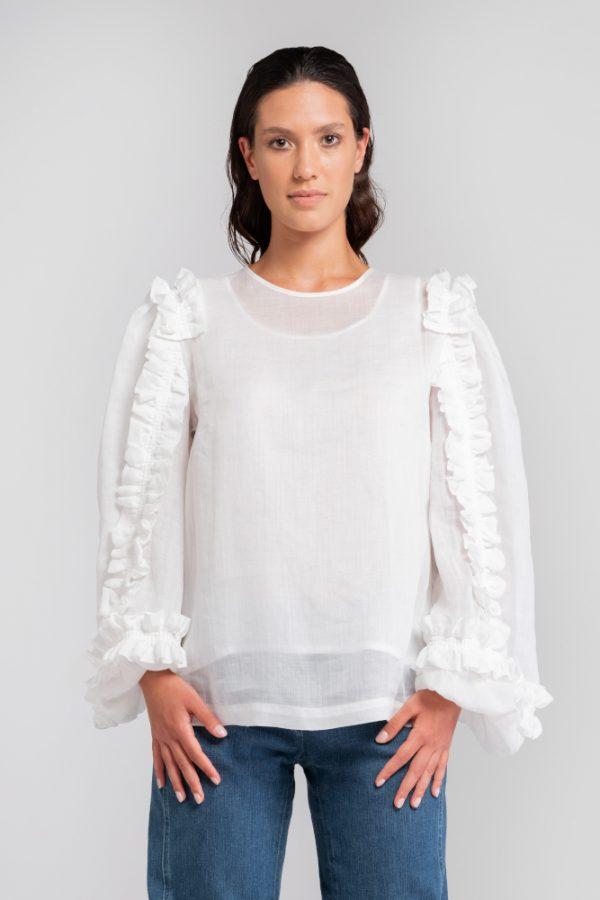 blusa bianca in ortica fronte