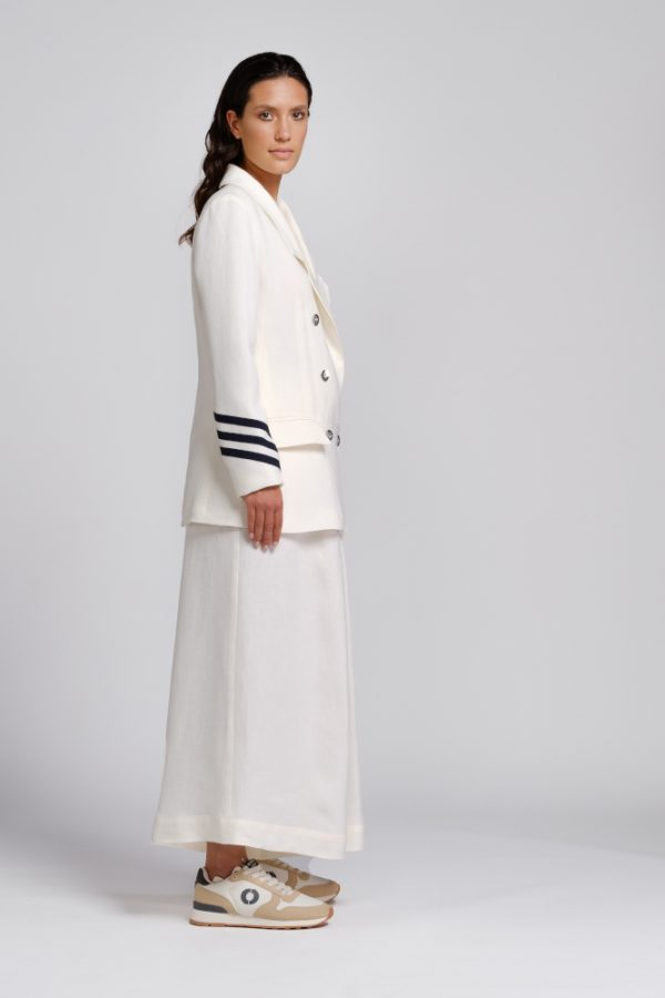 giacca in canapa bianca con dettagli