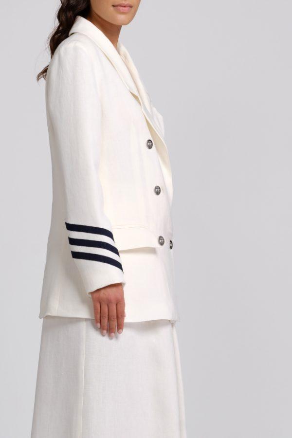 giacca in canapa bianca con dettagli manica