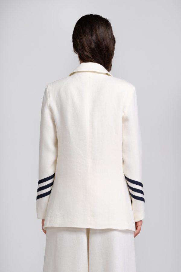 giacca in canapa bianca con dettagli retro