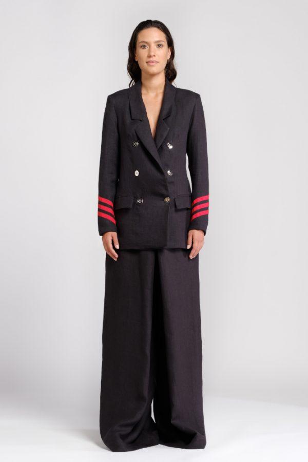 giacca canapa nera con dettaglio maniche