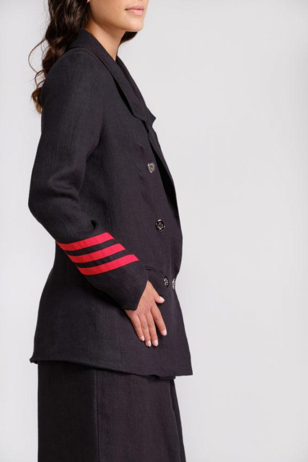 giacca in canapa nera con dettagli manica