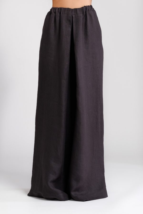 pantalone palazzo in canapa nero
