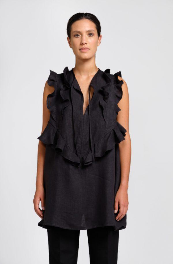 blusa nera in canapa fronte