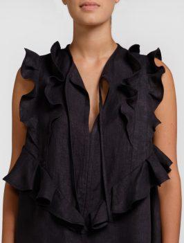 blusa nera in canapa naturale con volant