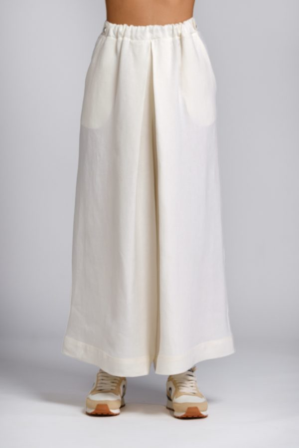 pantalone in canapa bianco