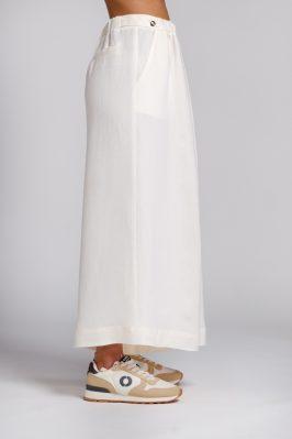 pantalone palazzo in canapa bianco lato