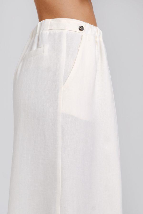 pantalone palazzo in canapa bianco dettagli