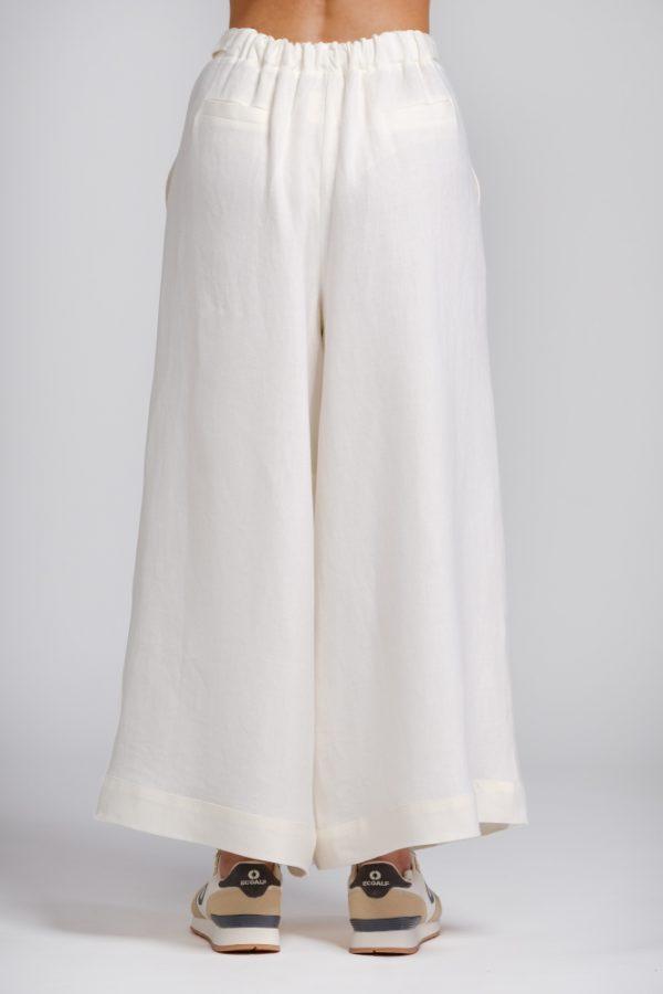 pantalone palazzo in canapa bianco retro