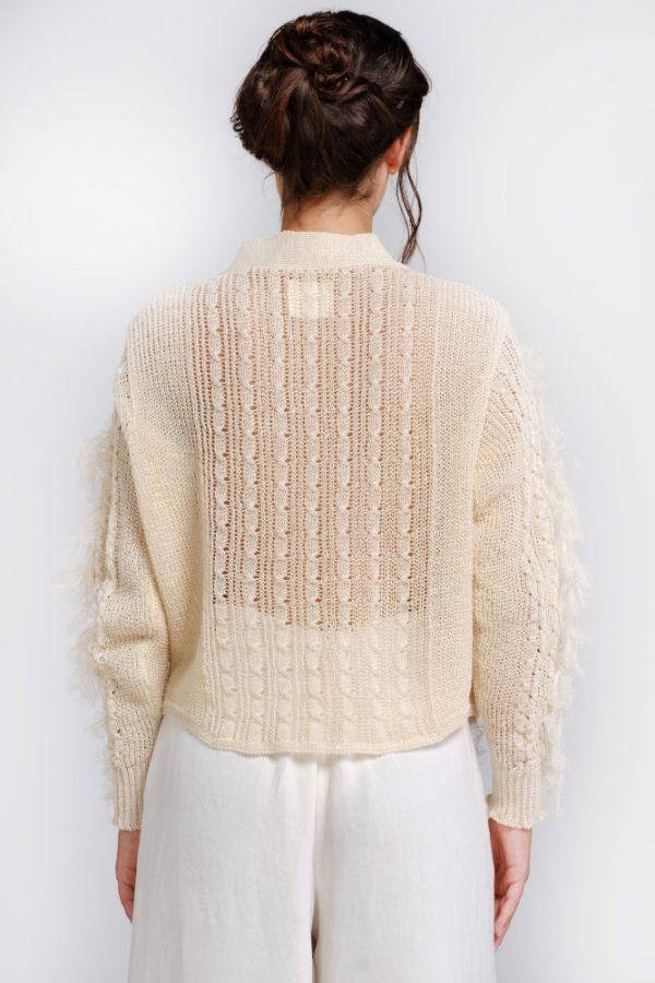 blusa in filato di canapa naturale