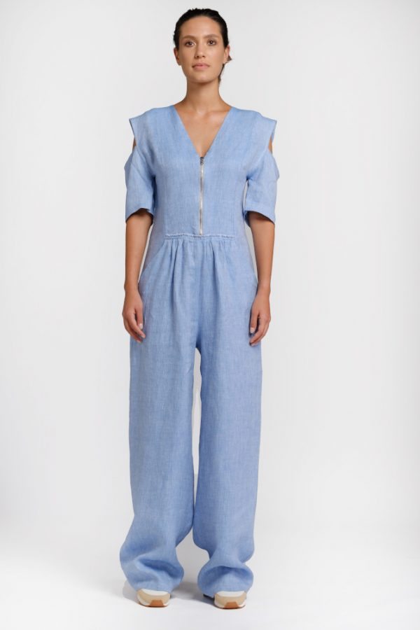 light blue hemp jumpsuit